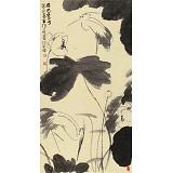 周自豪 三尺水墨荷花图《荷风卫士》 当代著名禅意画家