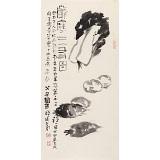 周自豪 四尺三开果蔬画《萝卜白菜报平安》 当代著名禅意画家