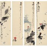 【已售】周自豪 四条屏《金玉满堂》 当代著名禅意画家