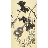周自豪 三尺水墨荷花图《一笔葫芦一笔藤》 当代著名禅意画家