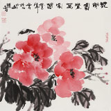 【已售】李胜春三尺斗方牡丹画《花开富贵万家春》