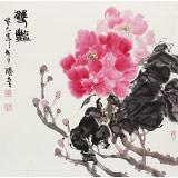 【已售】李胜春三尺斗方富贵牡丹画《双艳》