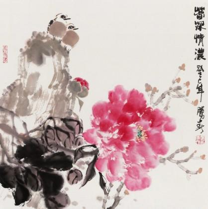 李胜春三尺斗方国画牡丹 春深情浓