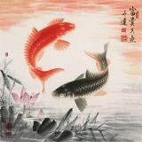 【已售】周升达 四尺斗方《富贵久鱼》 中国画院国画组长(询价)