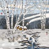 何一鸣 四尺斗方《冬韵》 冰雪画派画家 师从于志学
