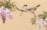 皇甫小喜 四尺对开《紫藤挂云木》 河南著名花鸟画家