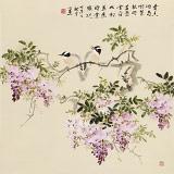 皇甫小喜 四尺斗方《紫藤飘香》 河南著名花鸟画家