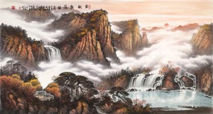 张慧仁 六尺《金秋观瀑图》 广西最新博彩大全家协会常务理事
