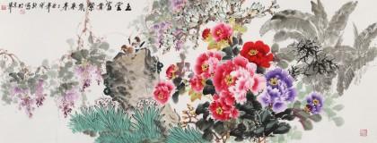 王宝钦 小六尺《玉堂富贵 紫气东来》当代花鸟牡丹画名家(询价)
