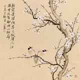 皇甫小喜 四尺斗方《白梅双雀图》 河南著名花鸟画家