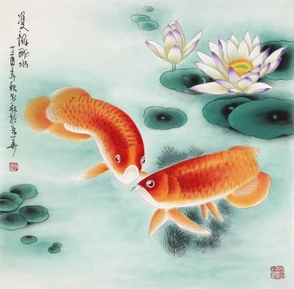 南海禅寺 妙林居士 四尺斗方《双龙戏水》