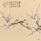 皇甫小喜 四尺斗方《寒梅双雀》 河南著名花鸟画家