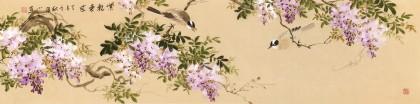 皇甫小喜 四尺对开《紫气东来》 河南著名花鸟画家