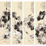 皇甫小喜 四条屏《荷韵四联》 河南著名花鸟画家