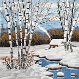 何一鸣 四尺斗方《寂静的冬天》 冰雪画派画家 师从于志学