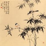 皇甫小喜 四尺斗方《竹雀报平安》 河南著名花鸟画家