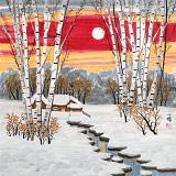 何一鸣 四尺斗方《雪溪图》 冰雪画派画家 师从于志学