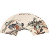 【已售】胡书文 扇面 《山高自有行路人》中国书画院创作院副院长