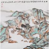 【已售】胡书文 四尺斗方《云壑清泉生翠微》中国书画院创作院副院长