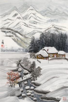【已售】何一鸣 四尺三开《风雪归人》 冰雪画派画家 师从于志学