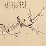 皇甫小喜 四尺斗方《寒梅双雀图》 河南著名花鸟画家
