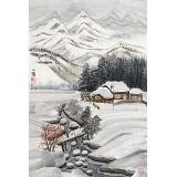 何一鸣 四尺三开《风雪归人》 冰雪画派画家 师从于志学