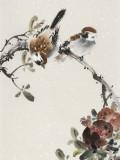 皇甫小喜 四条屏《花鸟四时》 河南著名花鸟画家