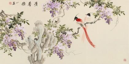 皇甫小喜 三尺《双寿图》 河南著名花鸟画家图片