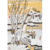 【已售】何一鸣 四尺三开《雪韵》 冰雪画派画家 师从于志学