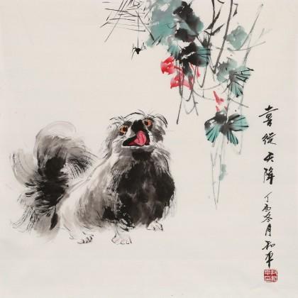 尹和平 四尺斗方《喜从天降》 当代乡土童趣绘画名家