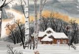何一鸣 四尺斗方《冰雪桦林》 冰雪画派画家 师从于志学