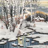 【已售】何一鸣 四尺斗方《冰雪桦林》 冰雪画派画家 师从于志学