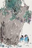 刘纪 四尺三开《私语》 河南著名老画家