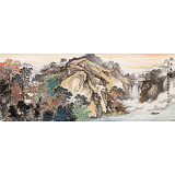 【已售】蒋元发 小六尺《秋山鸣泉》 广西著名山水画家