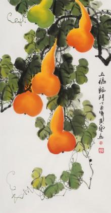 黄艺三尺招财辟邪葫芦画《五福临门》