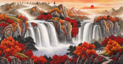吴东 六尺《万山红遍》 著名易经风水画家