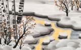 何一鸣 四尺三开《霞光映雪》 冰雪画派画家 师从于志学