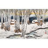 何一鸣 四尺三开《瑞雪丰年》 冰雪画派画家 师从于志学