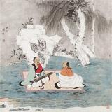 赵开新 四尺斗方《听琴图》 中美协会员 国家画院画家(询价)