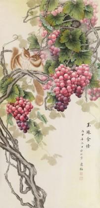 赵逸梅 四尺《玉珠含情》 著名工笔画家