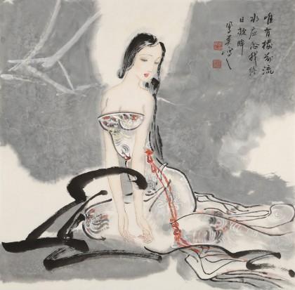 【已售】李凤英 四尺斗方《秋水》 北京美协会员