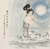 李凤英 四尺斗方《夜吟方知月近人》 北京美协会员