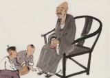 韩恩胜 四尺三开《春满乾坤福满门》中美协会员 水墨漫画名家