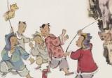 韩恩胜 四尺三开《出门见喜》中美协会员 水墨漫画名家