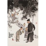 韩恩胜 四尺三开《祝寿图》中美协会员 水墨漫画名家