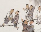 韩恩胜 四尺三开《争胜图》中美协会员 水墨漫画名家
