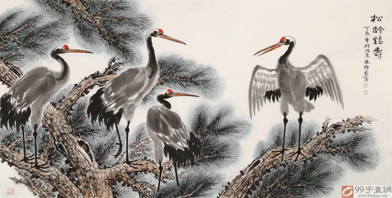 首页 花鸟画 松鹤图  品名:松龄鹤寿               尺寸:137×70cm