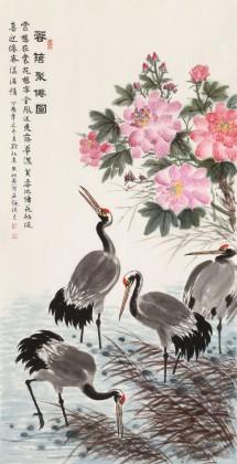 朱祖义 四尺国画仙鹤《蓉荫聚仙图》 中国老子书画院