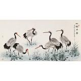 朱祖义 四尺《六鹤同春》 中国老子书画院副院长