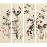 皇甫小喜 四条屏《梅兰竹菊》 河南著名花鸟画家